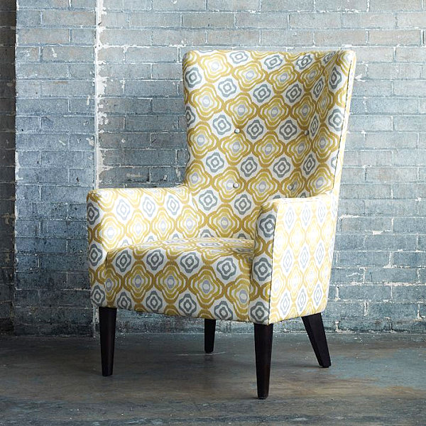 Blue Yellow Accent Chair