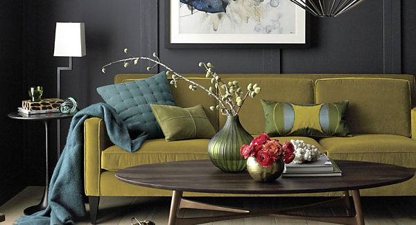 living room design with grey sofa teal curtains get this look: the secrets of eclectic interior