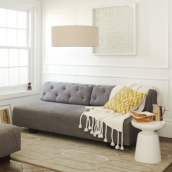 grey linen tufted sofa white slipcover target get this look: the secrets of eclectic interior design