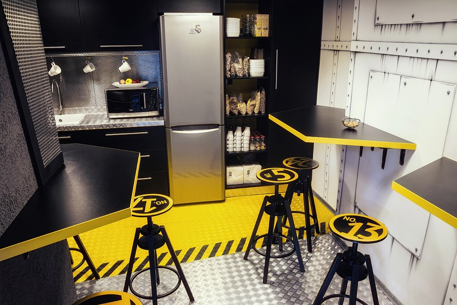 cafe themed kitchen decor how to set up a pantry imaginative spaceship-themed office with touch of ...