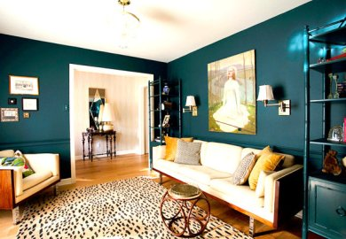 Turquoise Accent Wall Dining Room