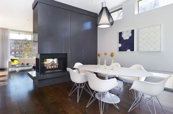 A Double Sided Fireplace Warms The Living And Kitchen Areas In Dining Room Fireplace Ideas For Romantic Winter Nights