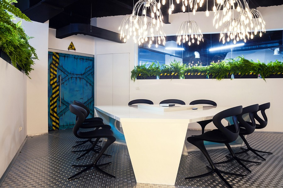 green apple kitchen decor faucet installation cost imaginative spaceship-themed office with a touch of ...