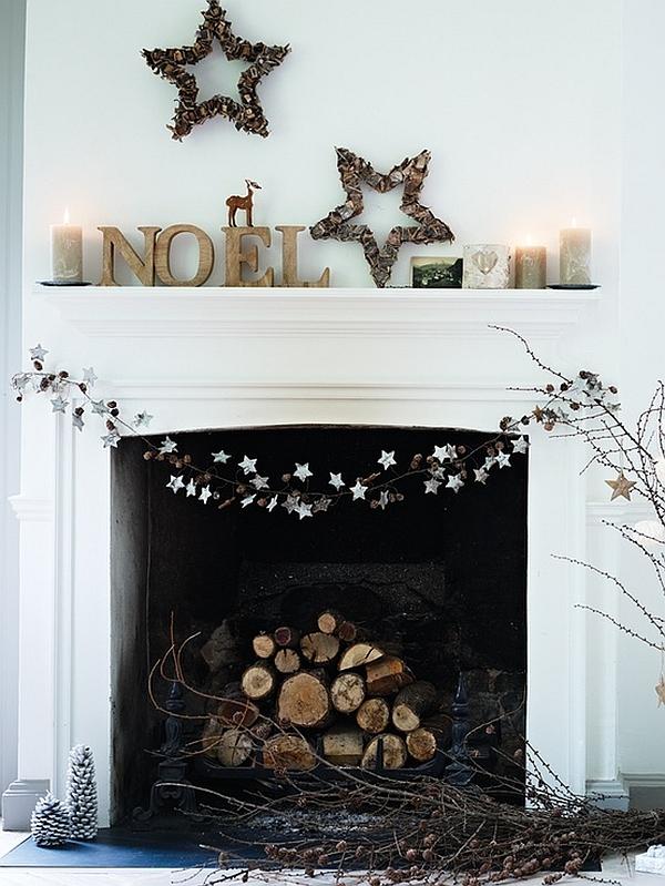 Minimalist Christmas Decor Idea For Fireplace Mantel Decoist