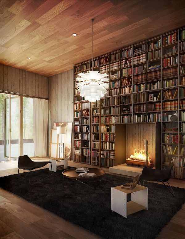 Library Room with Fireplace