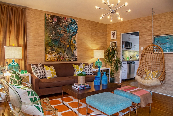 Living room combines several retro decor items even while staying modern