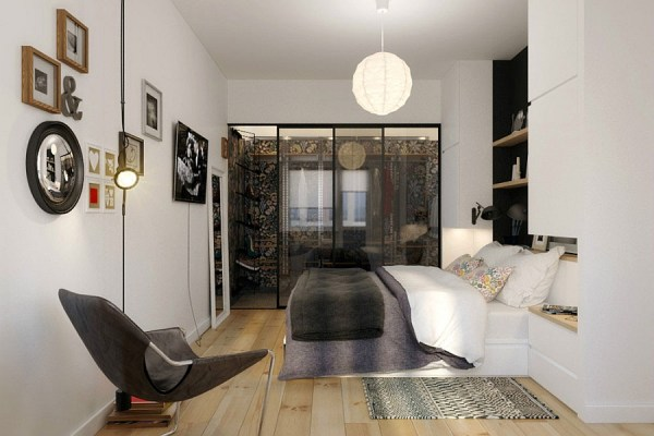 small apartment bedroom idea Tiny Apartment In Black And White Charms With Space-Saving