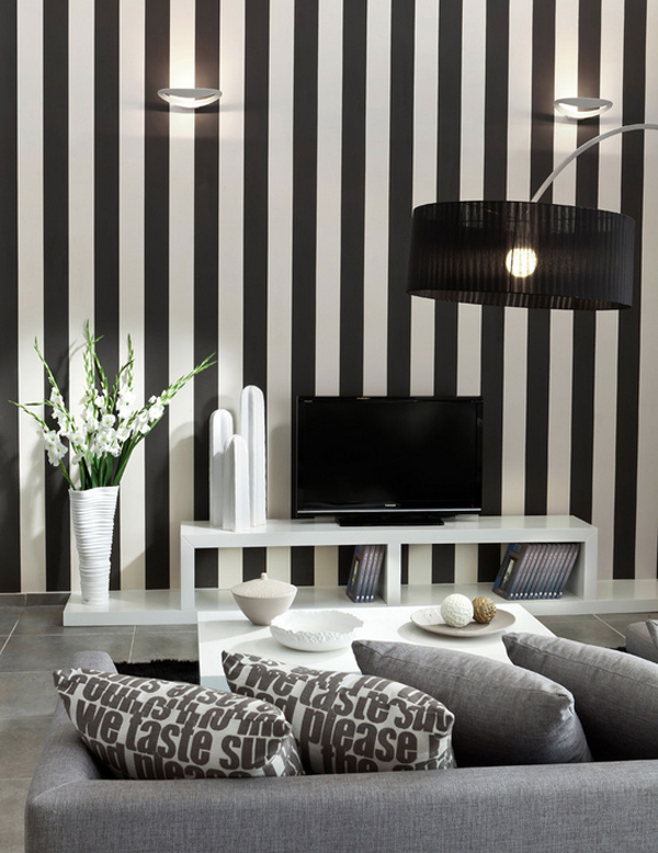 black and white wallpaper ideas for living room curtain designs windows bold beautiful stripes in every view gallery vertical stripe
