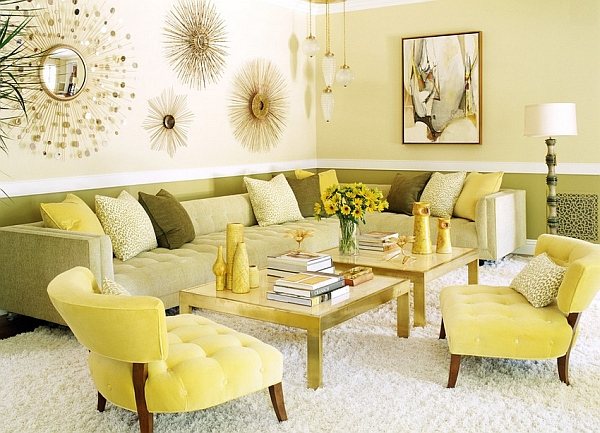 retro style living room furniture seating arrangements ideas and decor inspirations for the modern home warm yellows showcase a 70s look along with tinge of hollywood regency