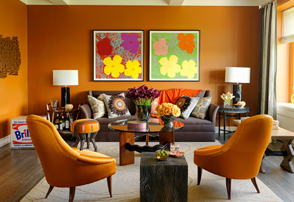 orange couch living room ideas tiny with corner fireplace andy warhol's pop art makes a special appearance indoors