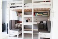 bed with desk underneath queen | Wallpaper: Wood Bunk Bed ...