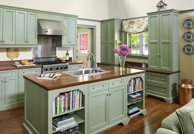 Vintage Green Kitchen Cabinets