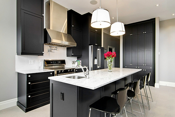 kitchen black cabinets mosaic backsplash the 9 most popular colors to pick from are an ideal choice for those who love contemporary minimalism