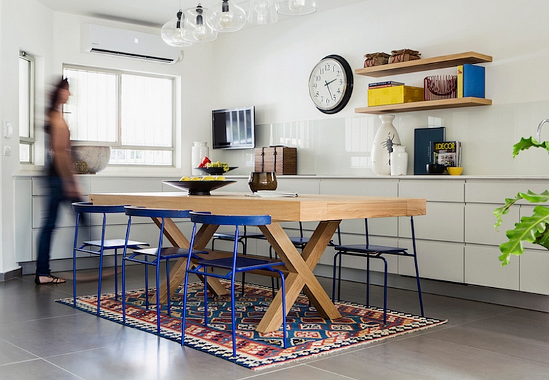 dark wooden dining room chairs wood rocking chair parts multilevel house in israel gets a bright and colorful renovation