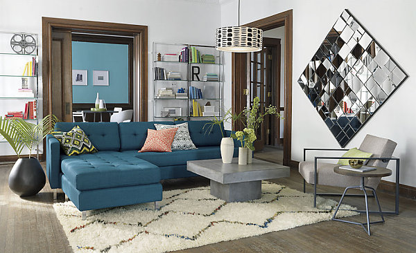 simmons small sectional sofa click clack cover in peacock blue - decoist