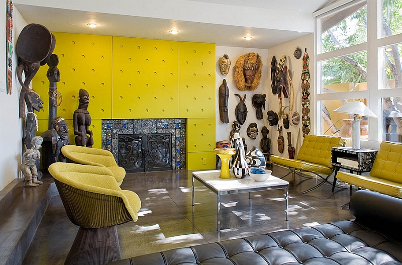 Colorful Living Room With Twin Platner Lounge Chairs In