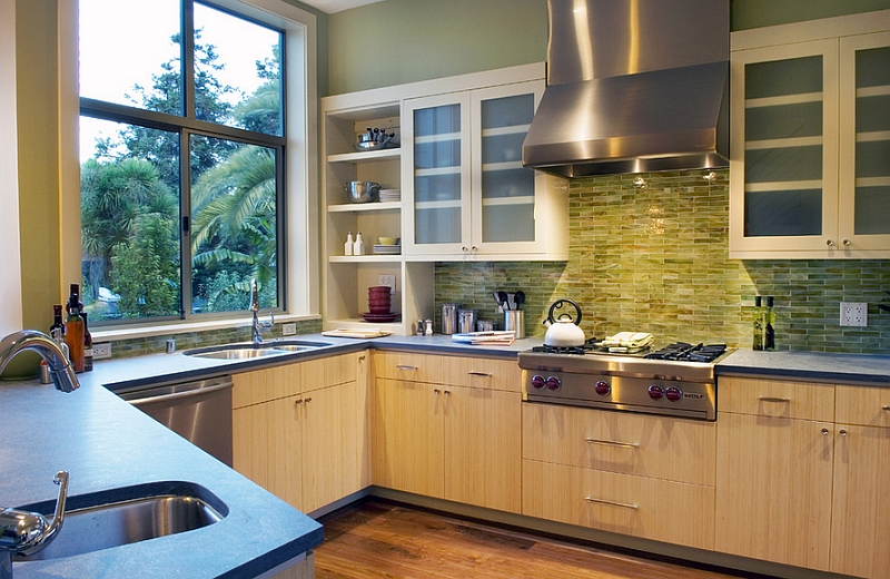 modern kitchen backsplash bridge faucets ideas a splattering of the most popular colors view in gallery green onyx tile for