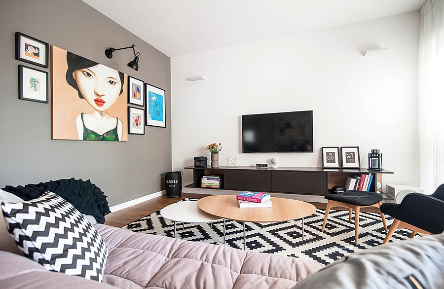living room entertainment wall ideas and dining color combinations 90s apartment in tel aviv gets a trendy, eclectic makeover
