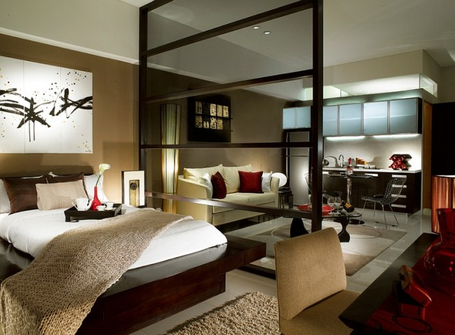 View In Gallery Modern Asian Style Bedroom For A Posh Studio Apartment By Illy Designs