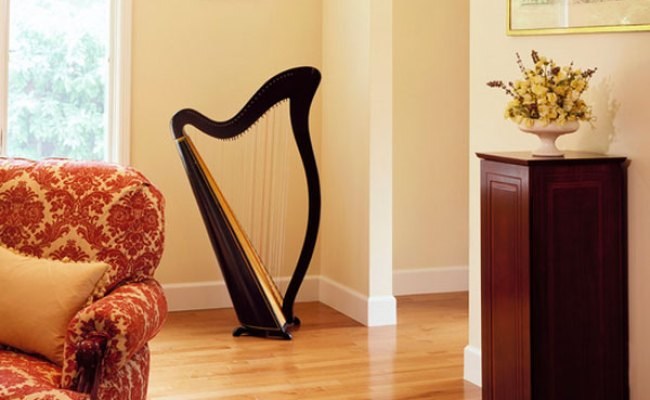 Decorating With Musical Instruments Harps