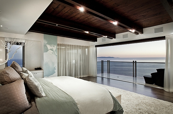 modern bedroom with ocean view Sheer Curtains Ideas, Pictures, Design Inspiration