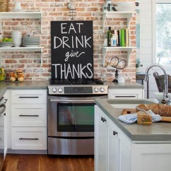 Brick Backsplash In Kitchen Moen Waterhill Faucet Backsplashes Rustic And Full Of Charm View Gallery Backslpash With Chalkboard