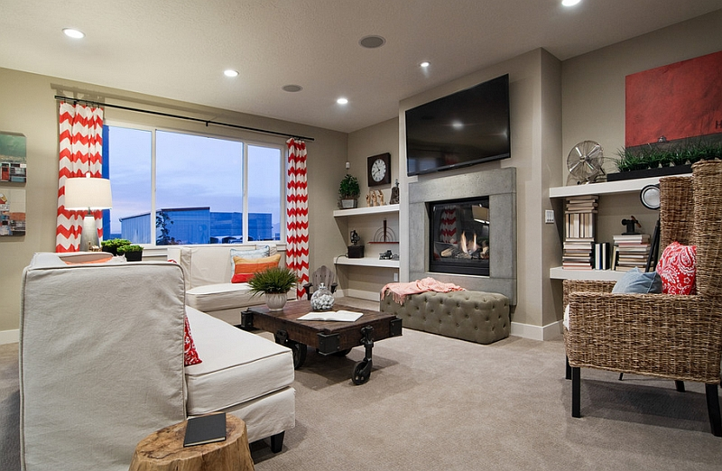 chevron living room curtains old farmhouse ideas pattern for rooms rugs drapes and accent pillows view in gallery red white