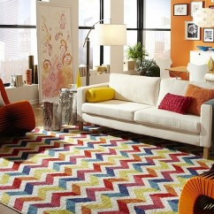 Bright Colored Living Room Rugs Ideas 2018 With Tv Chevron Pattern For Rooms Drapes And Accent Pillows View In Gallery Multicolored Rug The