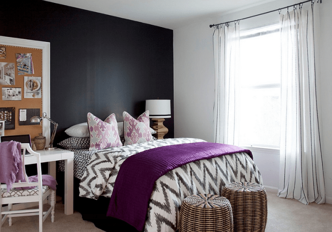 View In Gallery Plush Purple Accents The Black And White Bedroom