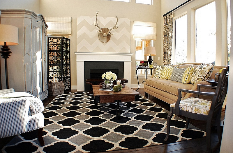 chevron living room curtains black and white furniture decorating ideas pattern for rooms rugs drapes accent pillows view in gallery rustic chic with a subtle above the fireplace