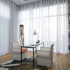 Sheer Curtain Ideas For Living Room Kitchen Color Schemes Curtains Pictures Design Inspiration View In Gallery Sheers Hung From Wall To Give This Home Office A Soft Effect