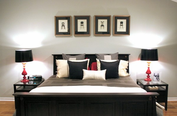red accent bedroom Bold Black And White Bedrooms With Bright Pops of Color