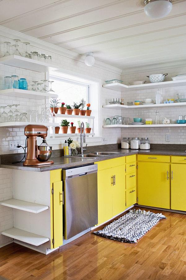 meuble cuisine jaune