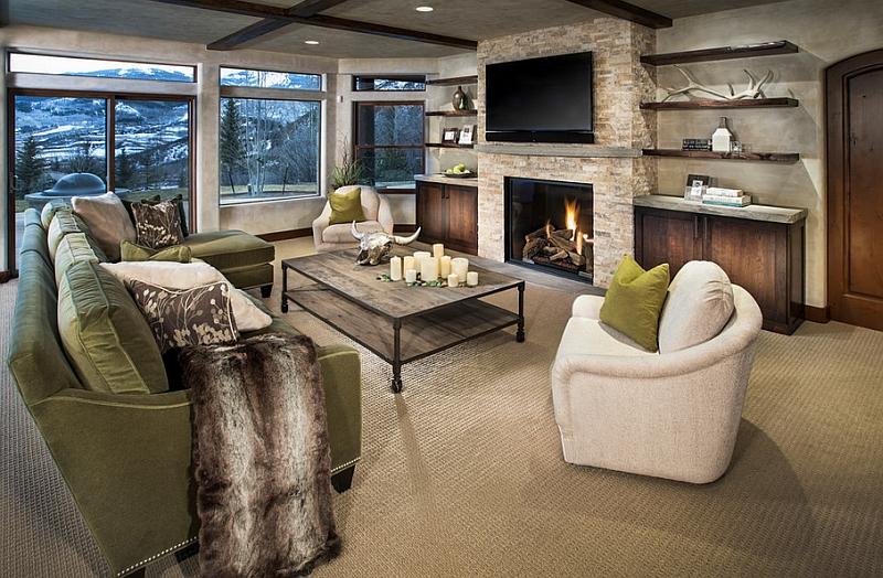 living room design ideas tv over fireplace photos modern above view in gallery cozy family with floating shelves and a the