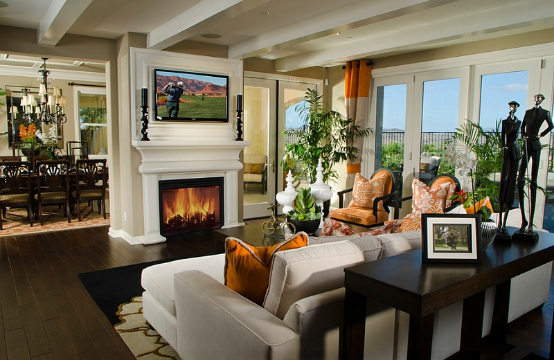 how to decorate living room with tv over fireplace burnt orange and brown ideas above design view in gallery gorgeous the classic