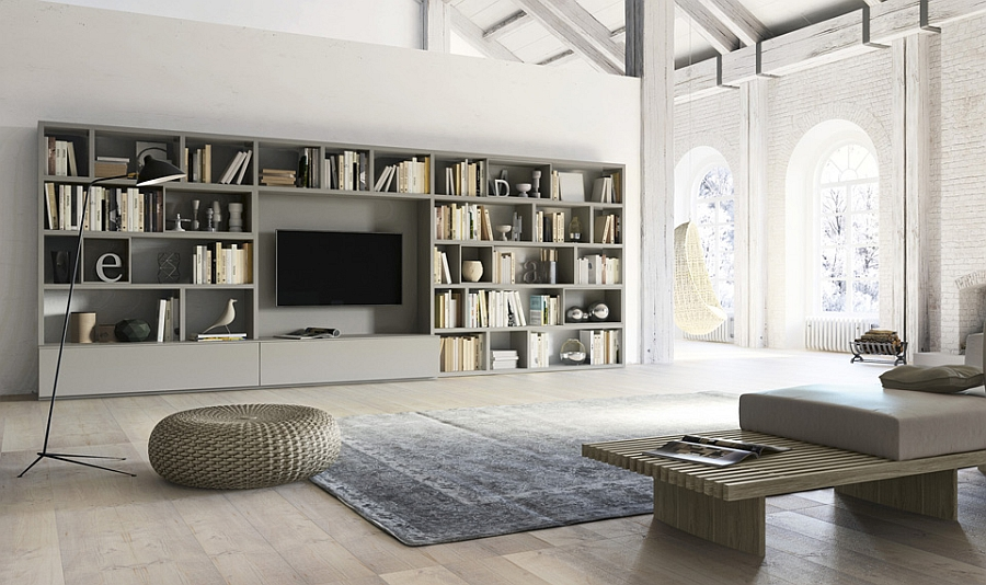 Contemporary Living Room Wall Units And Libraries Ideas
