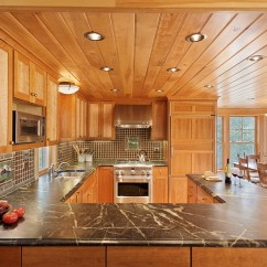 Tile Backsplash Ideas For Kitchen Window Treatments Above Sink Cozy Cabin Retreat Combines Warmth Of Wood With A Bright ...
