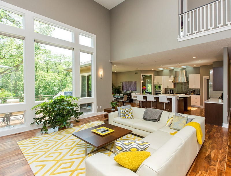 grey yellow living room design the at w new york times square ny usa gray and rooms photos ideas inspirations view in gallery addition of accent pillows allows you to switch between color schemes with ease