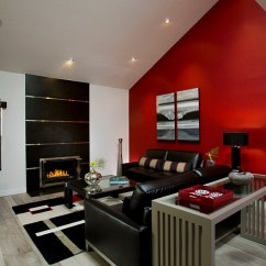 Red And White Living Room Mansion Black Interiors Rooms Kitchens Bedrooms View In Gallery Beautiful Bright Accent Wall Draws Your Attention Instantly