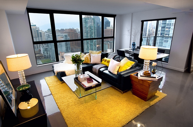 grey and yellow living room decorating ideas picture of interior design gray rooms photos inspirations view in gallery black couch adds visual punch to the
