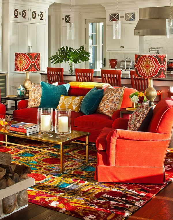 bohemian living room style design ideas with dark furniture interiors rooms and bedrooms view in gallery bold lampshades candles really drive home the look of lounge modern