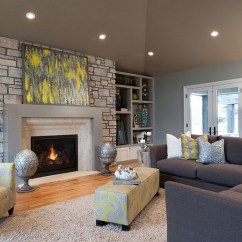 Contemporary Living Room Colors Coat Closet Ideas Gray And Yellow Rooms Photos Inspirations View In Gallery Chair Ottoman Toile Fabric Enliven The