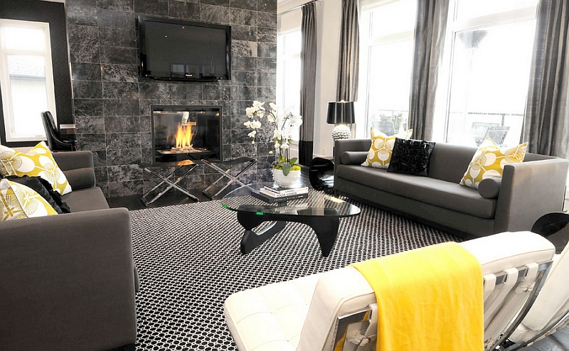 modern colour schemes for living room grey sofa decorating ideas old homes gray and yellow rooms photos inspirations view in gallery notice how the fireplace adds to color scheme of exquisite