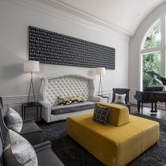 Living Room Decor Gray And Yellow Furniture Layout For Small With Fireplace Rooms Photos Ideas Inspirations View In Gallery Spacious Sophisticated Home