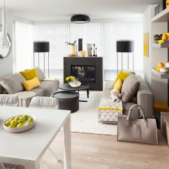 Gray White And Yellow Living Room Ideas Interior Decorations For Small Rooms Photos Inspirations View In Gallery Throw A Few Yellowish Greens To Make The Grey Even More Appealing