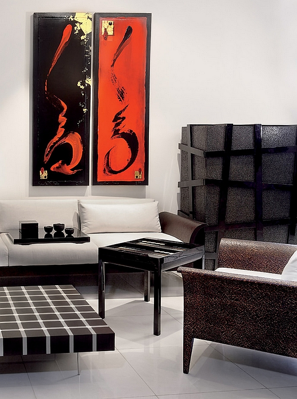red and black living room theme tile flooring white interiors rooms kitchens bedrooms view in gallery use artwork to usher the color
