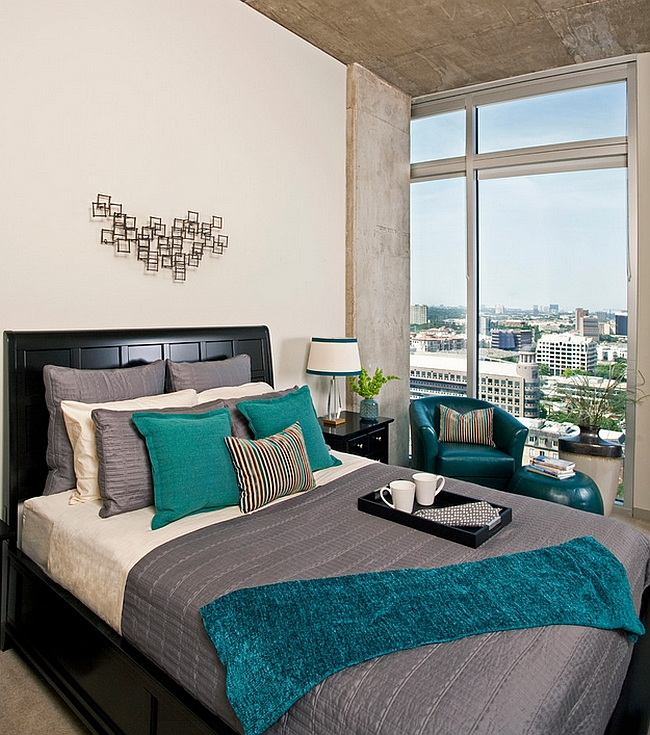A more masculine use of teal accents in the bedroom Hot Color Trends: Three Fashionable Hues That Serve You All Year Long Year Trends Three Serve Long Hues Fashionable Color