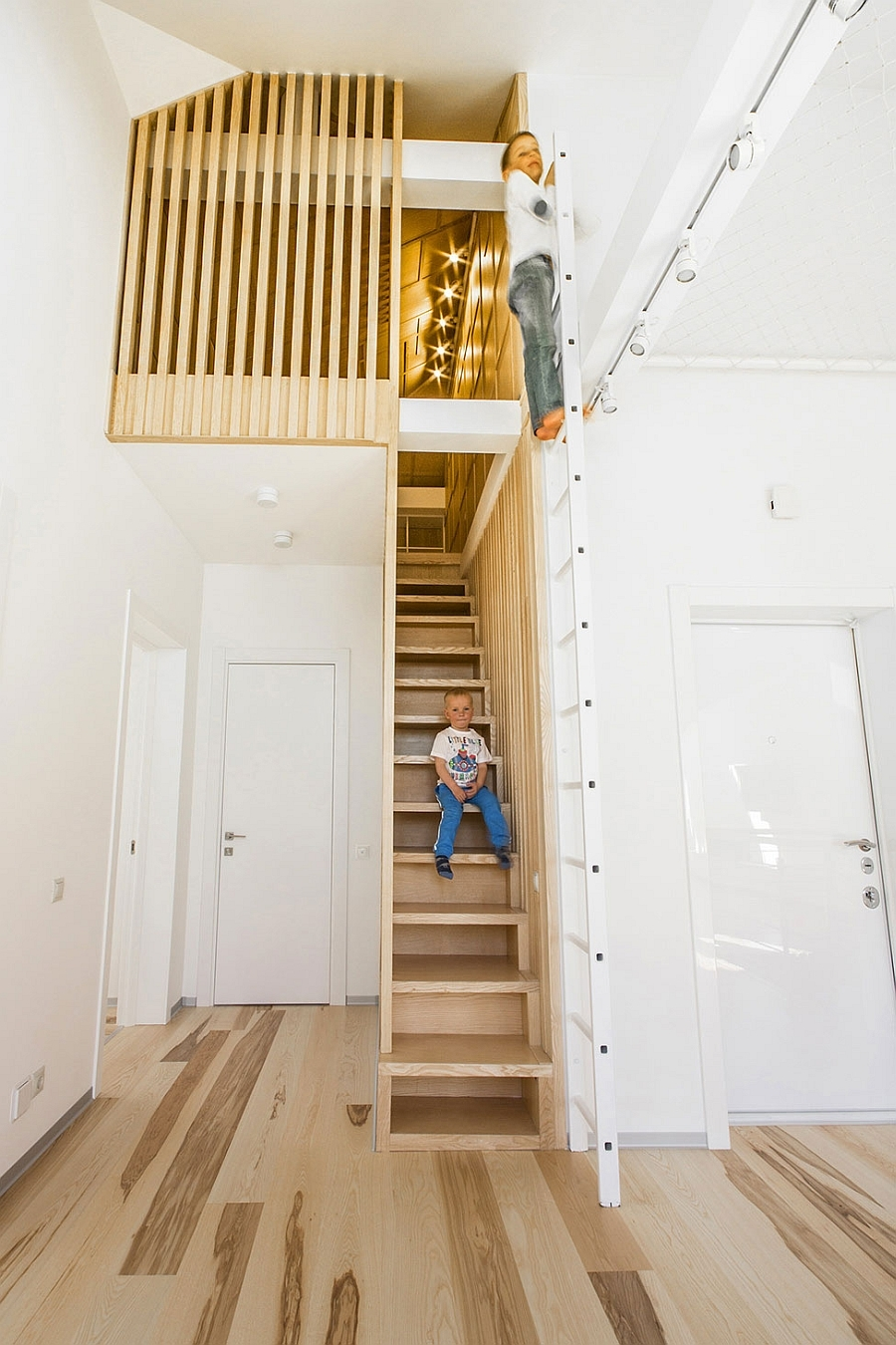 Small Loft Apartment Turned Into A Trendy Home Space Saving Ideas | Space Saving Staircases For Small Homes | Design | Spiral Staircases | Staircase Design | Attic Ladder | Staircase Ideas