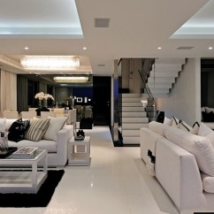 Black And White Living Rooms Hanging Lights For Room Design Ideas View In Gallery An Open Floor Area With Color Scheme