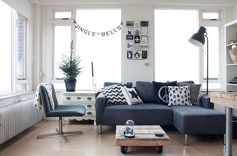 dark grey and white living room ideas how to design curtains for black rooms view in gallery with some christmas cheer